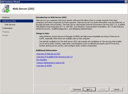 En la pantalla Web Server (IIS), click Next para continuar.
