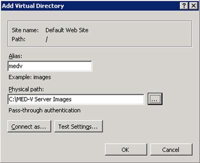 En el diálogo Add Virtual Directory, especificar el nombre deseado para el Directorio Virtual (el campo Alias), así como la ruta física (si no existe, deberemos crearla). Click OK.