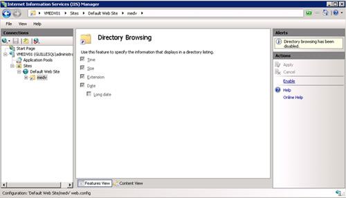 Click Enable, en el menú lateral derecho, para activar el Directory Browsing.