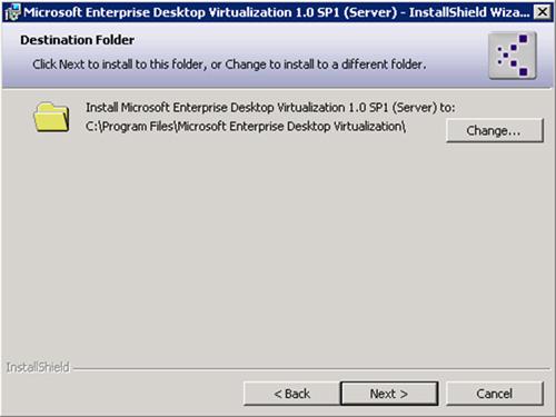 En la pantalla Destination Folder, seleccionar la ruta sobre la que se desea instalar MED-V Server. Click  Next para continuar