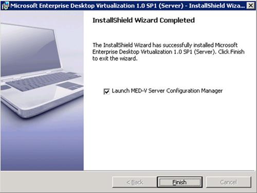 En breves instantes, MED-V Server quedará instalado. Click Finish para continuar.