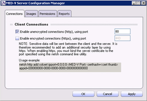 Se abrirá la herramienta administrativa MED-V Server Configuration Manager.