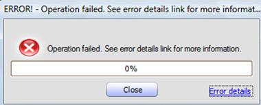 Si no hacemos esto correctamente, al trabajar con la consola de MED-V e intentar subir una imagen de una VM al MED-V Server, nos podremos encontrar con algún error como el siguiente: Operation failed. See error details link for more information
