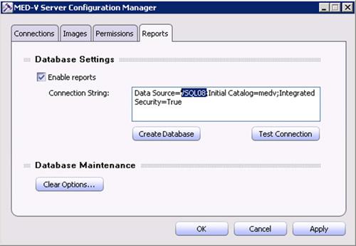 Instalamos los Microsoft SQL Server Management Objcts para SQL Server 2008 (requiere instalar previamente los Microsoft SQL Server System CLR Types). Cerramos y abrimos de nuevo la herramienta MED-V Server Configuration Manager, y en esta ocasión, ya se muestra correctamente la pestaña Reports. Modificamos la cadena de conexión, y click en Create Database.