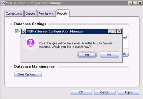 De vuelta a la pantalla principal del MED-V Server Configuration Manager, Click OK para continar. Se mostrará un mensaje indicado que es necesario reiniciar los servicios de MED-V para que los cambios tomen efecto. Click OK.