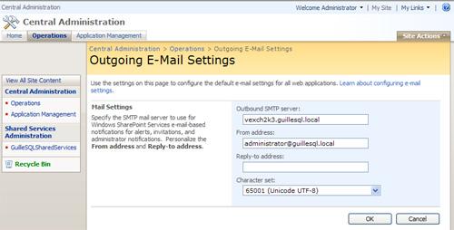 Configurar el Correo Electrónico Saliente (Outgoing E-Mail Settings) en MOSS 2007.