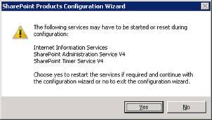 Se mostrará una ventana informando que algunos servicios podrían ser reiniciados durante esta configuración. Click Yes para continuar.