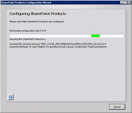 Se mostrará una barra de progreso, mientras se configura el Language Pack instalado en nuestro servidor MOSS 2010.