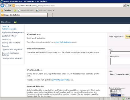 Otra comprobación que podemos realizar, es abrir la pantalla para crear una nueva Colección de Sitios (también desde la Consola de Administración Central), en cuyo caso deberemos observar que tenemos disponible el idioma que acabamos de instalar, como se muestra en la siguiente pantalla capturada.