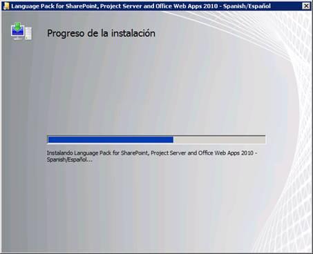 Se inicia la instalación del Language Pack, mostrándose una barra de progreso que durará un par de minutos aproximadamente (dependiendo del Hardware y demás).