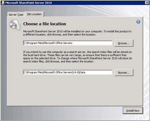 En la pestaña File Location, si lo deseamos podemos especificar una ubicación diferente en la que instalar MOSS 2010. Click Install Now para continuar.