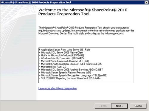 En la pantalla de bienvenida del instalador de los Pre-Requisitos de MOSS 2010, click Next.