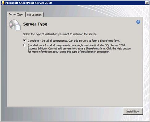 En la pestaña Server Type, seleccionaremos la opción Complete.