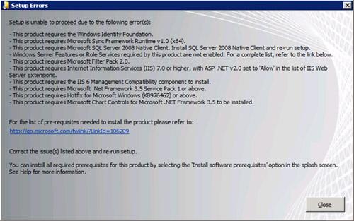 Si intentamos instalar MOSS 2010 sin haber instalado previamente los Pre-Requisitos de MOSS 2010, nos encontraremos con un error