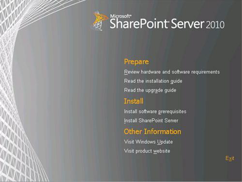 En la pantalla de Splash, click en Install Sharepoint Server.