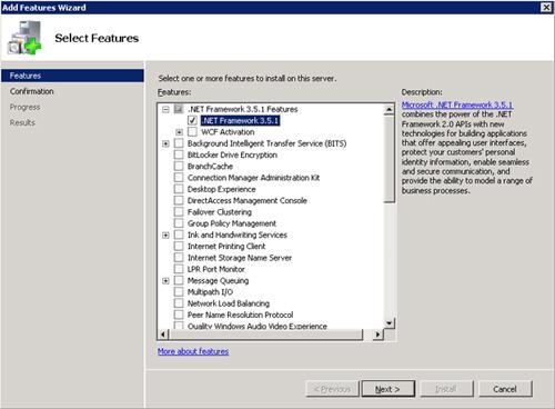 Seleccionaremos la opción de .Net Framework 3.5.1. Click Next para continuar.