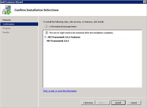 Confirmaremos la instalación del .Net Framework. Click Install.