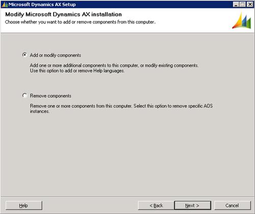 El instalador detectará que ya tenemos instalado el AOS de Microsoft Dynamics AX 2009, por lo que deberemos seleccionar la opción de Add or modify components. Click Next para continuar.