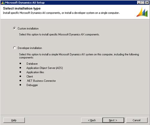 Seleccionaremos el tipo de instalación personalizada (Custom installation). Click Next para continuar.