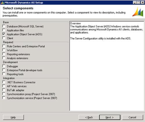En la pantalla Select components, seleccionaremos la opción Application Object Server (AOS). Téngase en cuenta, que dado que deseamos montar en la misma máquina tanto el AOS como el Cliente AX, deberíamos seleccionar ahora ambas opciones. Sin embargo, vamos a realizar las dos instalaciones poer separado, básicamente por motivos didácticos. Click Next para continuar.