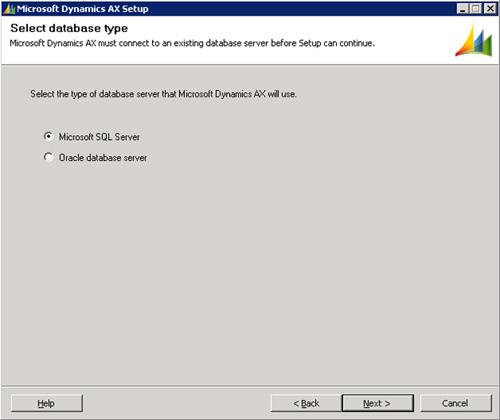 Seleccionaremos el tipo de motor de base de datos que deseamos utilizar (en nuestro caso, Microsoft SQL Server). Click Next para continuar.