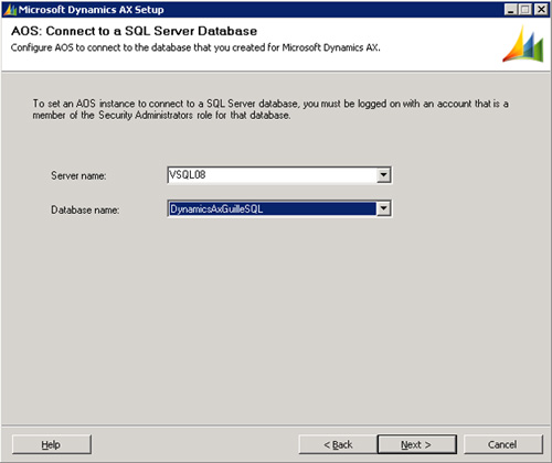 Especificaremos el nombre la instancia y base de datos de SQL Server. Click Next para continuar.