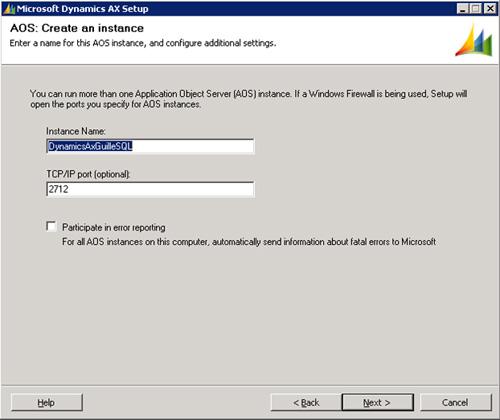 En la pantalla AOS: Create an instance, especificaremos el nombre de la instancia y el puerto TCP que deseamos utilizar. Click Next para continuar.