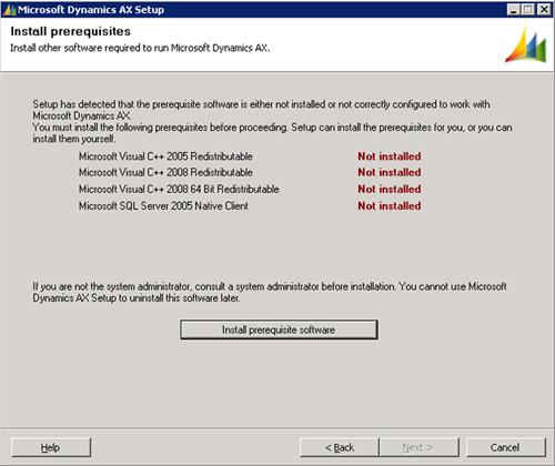 En la pantalla Install prerequisites, click Install prerequisite software.