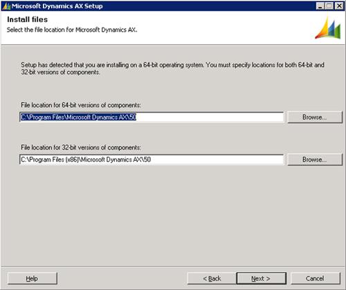 En la pantalla Install files, especificaremos la ruta de instalación. Click Next para continuar.