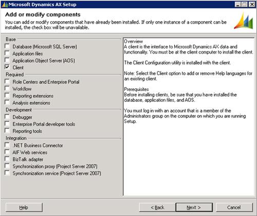 En la pantalla Add or modify components, seleccionaremos la opción Client. Click Next para continuar.
