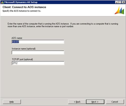 En la pantalla Client: Connect to AOS instance, seleccionaremos los datos de conexión al servidor AOS (téngase en cuenta que en estos momentos, sólo tenemos un servidor AOS instalado). Click Next para continuar.