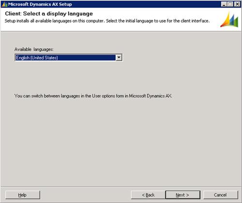 Seleccionaremos el idioma inicial deseado para el cliente. Click Next para continuar.