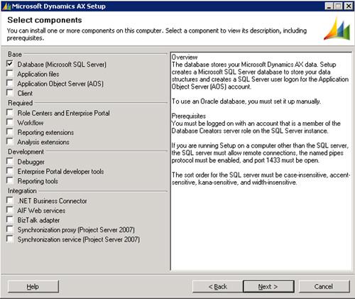 En la pantalla Select components, seleccionaremos la opción Database (Microsoft SQL Server). Click Next para continuar.