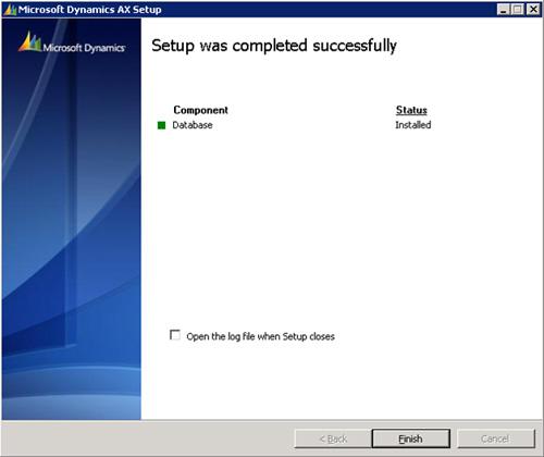 En unos instantes, la base de datos de Microsoft Dynamics AX 2009 habrá sido creada. Click Finish.