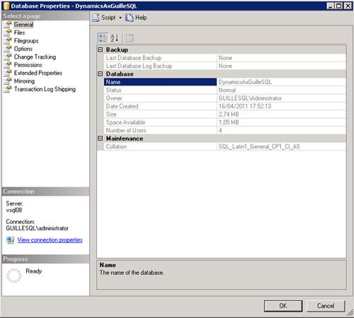 Si desde SQL Server Management Studio mostramos las propiedades de la base de datos, veremos algo como lo que sigue.