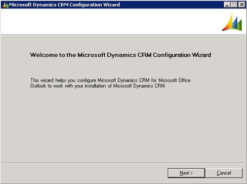 Se abrirá el asistente de configuración del Cliente de Microsoft Dynamics CRM para Outlook