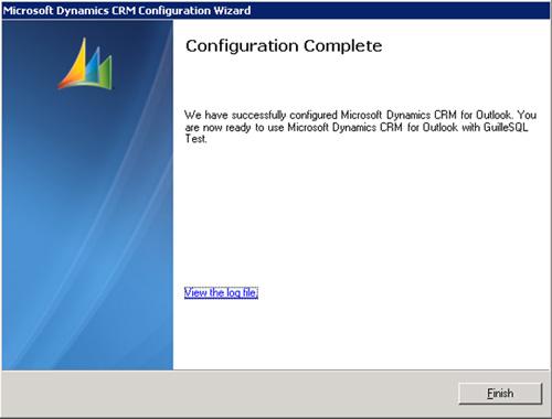 Y en breves instantes, la instalación del Cliente de Microsoft Dynamics CRM para Outlook habrá finalizado
