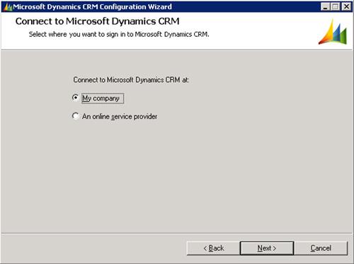 En la pantalla Connect to Microsoft Dynamics CRM, seleccionaremos que nos deseamos conectar a My company
