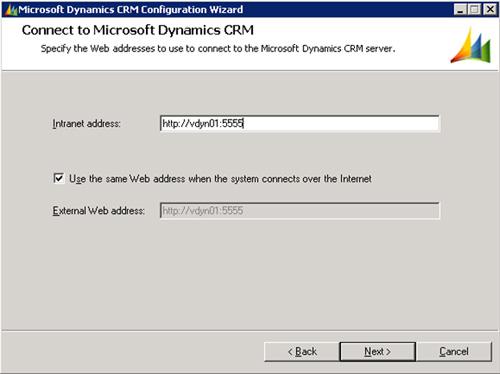En la pantalla Connect to Microsoft Dynamics CRM, especificaremos la URL del Site en el que está montado Microsoft Dynamics CRM 4.0