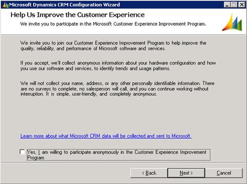 En la pantalla Help Us Improve the Customer Experience, tenemos posibilidad de incluirnos en el programa de ayuda de Clientes a Microsoft