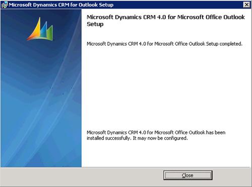 Click Next para continuar, barrita de progreso al canto, y en breves instantes el Cliente de Microsoft Dynamics CRM para Outlook, quedará instalado