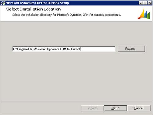 En la pantalla Select Installation Location, seleccionaremos la ruta en la que deseamos instalar el Cliente de Microsoft Dynamics CRM para Outlook