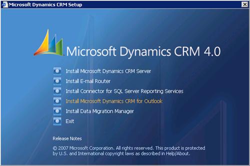 Desde la media de Microsoft Dynamics CRM, en la pantalla de Splash, seleccionaremos la opción Install Microsoft Dynamics CRM for Outlook.