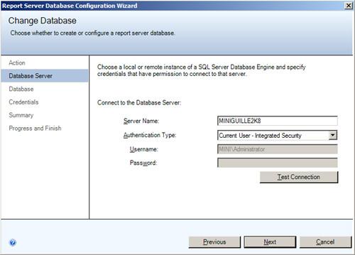 Change Database - Database Server