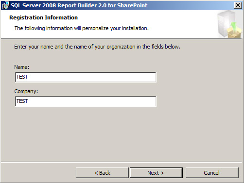 Instalar Report Builder 2.0 - Registration Information