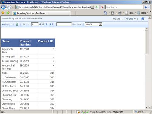Comprobación de la Ejecución de un Report con Reporting Services 2008 integrado en SharePoint 2007