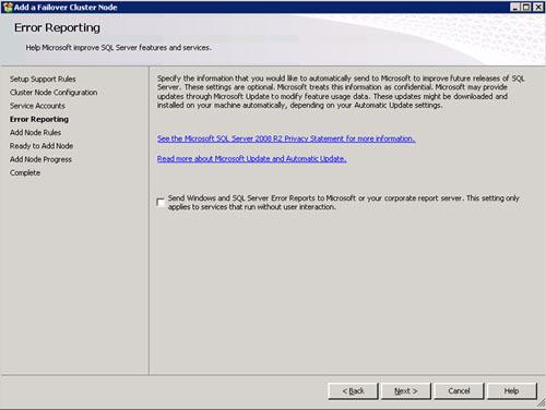En la pantalla Error Reporting click Next para continuar.