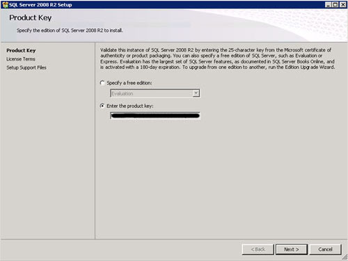 En la pantalla Product Key, click Next para continuar.
