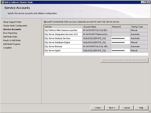 En la pantalla Service Accounts introducimos los datos de las cuentas de usuario que deseamos que inicien los servicios de SQL Server. Click Next para continuar.