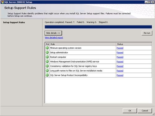En la pantalla Setup Support Rules revisamos que todo está correcto y click OK.